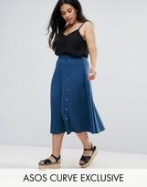 Asos Midi Skirt with Asymmetric Poppers
