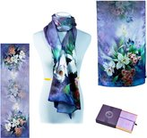 "LK-CRAFTS Luxury 100% Charmeuse Silk Long Scarf 20""x68"" - Design with Elegant Gift Box"