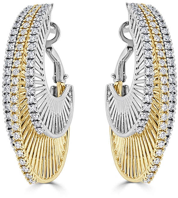 Neiman Marcus Diamonds 14k Two-Tone Three-Row Diamond Hoop Earrings