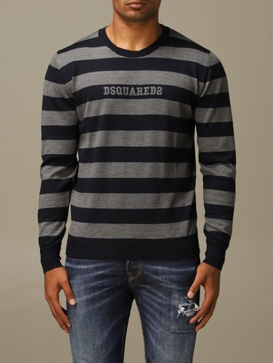 DSQUARED2 Sweater Wool Sweater With Logoed Bands