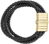 Lagos Gold & Black Caviar Collection 18K Gold & Ceramic Three Strand Bracelet