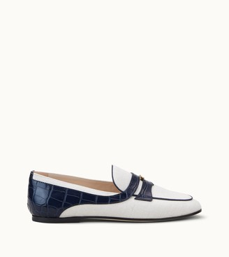 Tod's Loafers in Canvas and Crocodile-Printed Leather