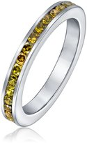 Bling Jewelry Sterling Silver Simulated Citrine CZ Eternity Ring