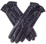 Black Swarovski Embellished Leather Gloves