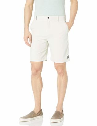 DKNY Men's Regular Fit Solid Flat Front Tech Shorts