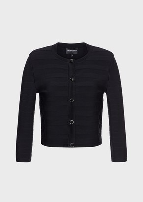 Emporio Armani Stretch, Rib-Knit Bolero Jacket