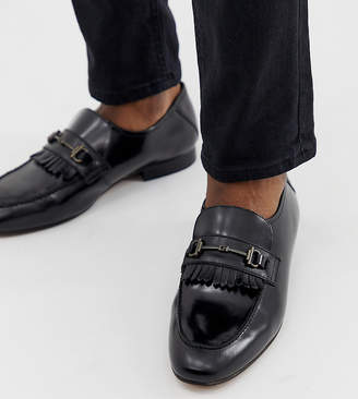 H By Hudson Wide Fit Chichister bar loafers in black leather