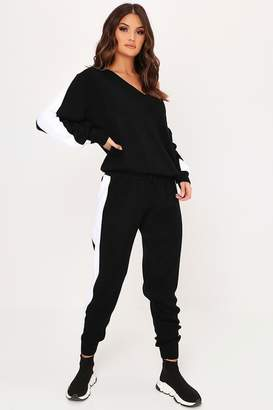 I SAW IT FIRST Black Side Stripe Knitted Skinny Joggers