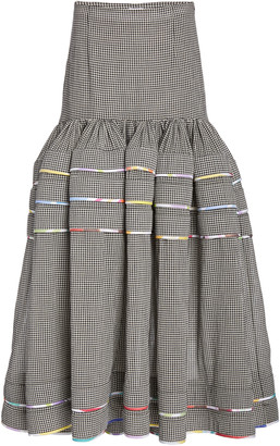 Rosie Assoulin Dropped-Waist Checked Cotton Tiered Maxi Skirt