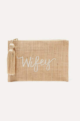 Kayu Wifey Embroidered Woven Straw Pouch - Sand