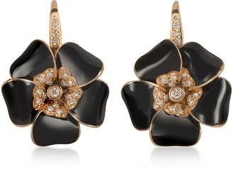 Rosato Rose Gold, Diamonds and Black Enamel Lily Earrings