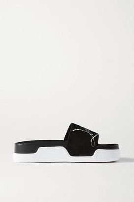 Christian Louboutin Dear Pool Crystal-embellished Suede Slides - Black