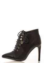 Quiz Black Patent Lace Up Shoe Boots