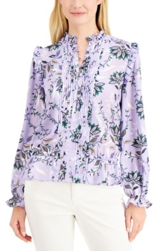 Charter Club Floral-Print Pintuck Blouse, Created for Macy's