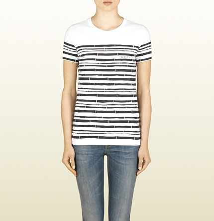 Gucci Short Sleeve T-Shirt With Bamboo Print