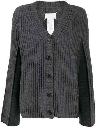 Maison Margiela contrast panel ribbed cardigan