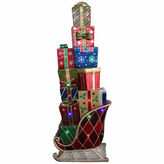 Asstd National Brand 60 LED Lighted Commercial Grade Sleigh Stacked With Presents Fiberglass Christmas Decoration