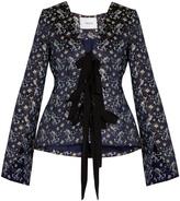 Erdem Mila tie-front floral-jacquard jacket