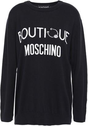 Moschino Intarsia Silk And Cashmere-blend Sweater
