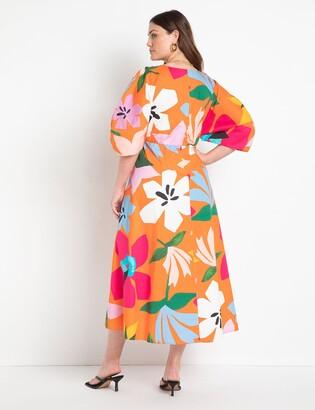ELOQUII Puff Sleeve Maxi Dress
