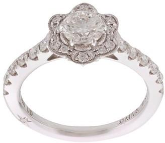 Marchesa 18kt White Gold Flower Diamond Halo Ring