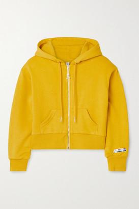 Adam Selman Sport Cropped Cotton-blend Jersey Hoodie - Mustard