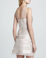 BCBGMAXAZRIA Sheer/Satin Jewel-Neck Dress