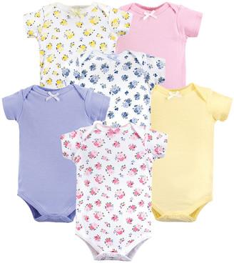 Luvable Friends Girls' Infant Bodysuits Floral - Pink, Purple & Yellow Floral Short-Sleeve Bodysuit Set - Newborn & Infant