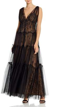 BCBGMAXAZRIA Tulle-Overlay Lace Gown