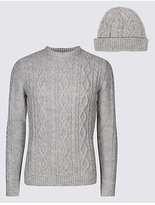 M&S Collection Cable Jumper with Hat