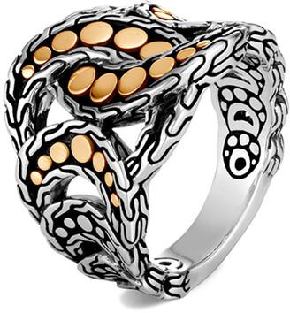 John Hardy Dot Interlocking Ring w/ 18k Gold, Size 6-8