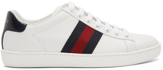 Gucci White and Navy Snake Ace Sneakers