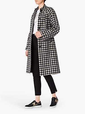 Paul Smith Check Collarless Houndstooth Coat, Cream/Navy
