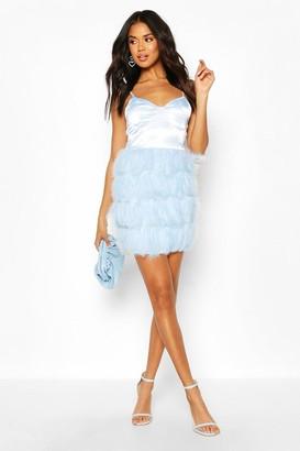 boohoo Feather Skirt Mini Dress