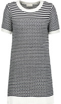Clu Gauze-Paneled Cable-Knit Cotton-Blend Mini Dress