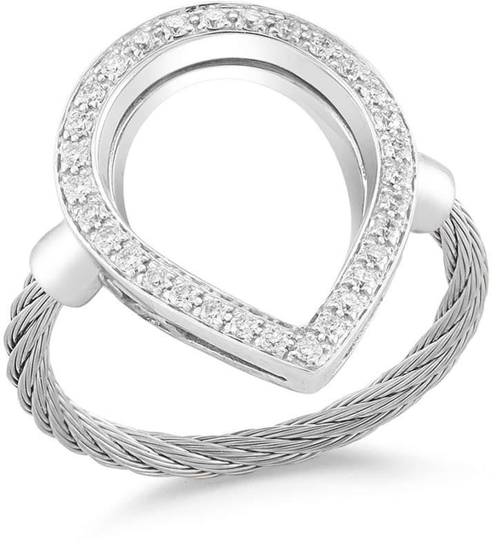 Alor Open Diamond Pave Teardrop Ring, Size 6.5