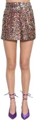 ATTICO High Waist Multicolor Sequined Miniskirt