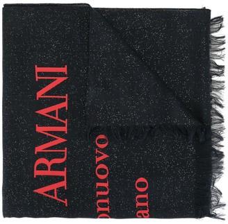 Giorgio Armani Metallic Logo-Print Scarf