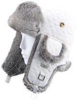FUR WINTER Rabbit Fur Diamond Quilted Nylon Aviator Bomber Trapper Pilot Ski Hat WHI/GRY M/L
