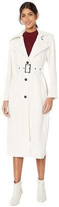 BB Dakota I Spy Textured Twill Belted Trench Coat (Pearl) Women's Clothing