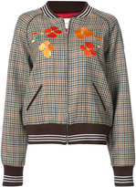 Rodarte embroidered checked bomber jacket