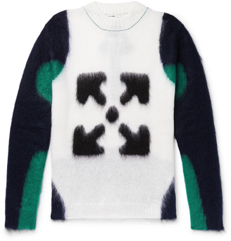 Off-White Logo-Intarsia Mohair-Blend Sweater