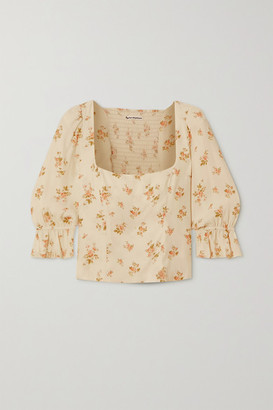 Reformation Ana Ruffled Floral-print Crepe Top - Cream