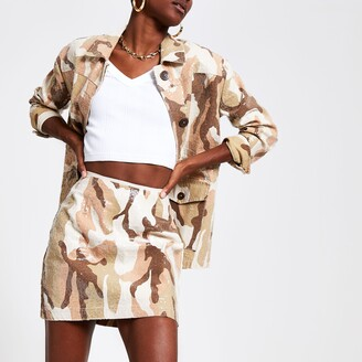 River Island Womens Beige camo sequin mini skirt