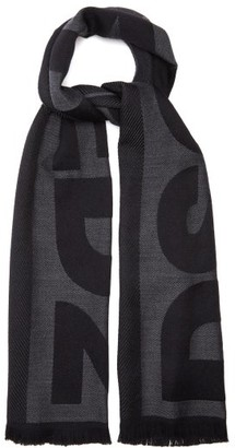 DSQUARED2 Logo-jacquard Wool Scarf - Black Grey