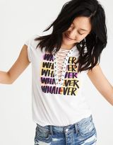 American Eagle Outfitters AE Lace-Up Graphic T-Shirt