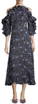 Rebecca Taylor Open-Shoulder Floral-Print Organza Dress