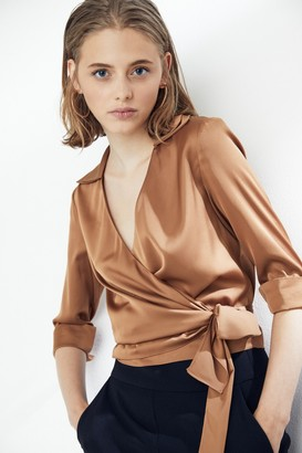 Explosion London V Neck Wrap Over Silky Crop Top/ Blouse