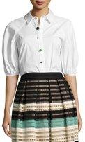 Lela Rose Full-Sleeve Button-Down Blouse, White