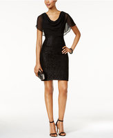 Jessica Howard Draped Capelet Lace Dress